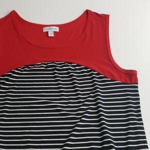 Kim Rogers Black/White/ Red Sleeveless Dress